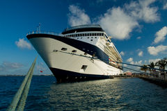 Docked Cruise Ship. A cruise ship docked in a tropical port Stock Images