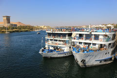 Docked Cruiseships  in Aswan, Egypt Royalty Free Stock Photography