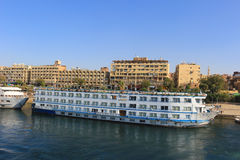Docked Cruiseships  in Aswan, Egypt Stock Image