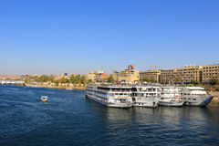 Docked Cruiseships  in Aswan, Egypt Royalty Free Stock Image