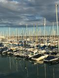 Docked for the day. Brighton marina sail boats Royalty Free Stock Photography