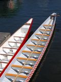 Docked Dragon Boats. Two dragon boats docked, Granville Island, Vancouver Royalty Free Stock Photo