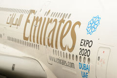 Docked Emirates Airbus A380 Royalty Free Stock Image