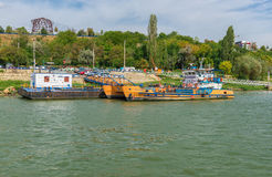 Docked ferry boat awaiting passengers to cross Danube river Stock Image