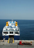 Docked Ferry Embarking. Ferry docked in Katakolon (Greece Royalty Free Stock Photo