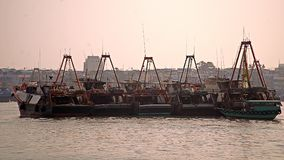 Docked fishing trawlers in cheung chau royalty free stock image