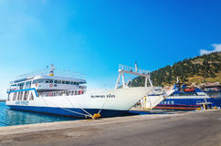 Docked Greek Ferry painted in typical blue colors Stock Image