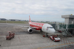Docked jet Airasia airplane Stock Photo