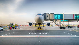 Docked jet aircraft in Dubai airport Royalty Free Stock Image