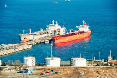 Docked Oil Tankers Royalty Free Stock Photos