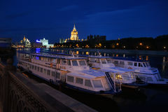 Docked River Boats at Krasnopresnenskaya Embankment - Moscow Royalty Free Stock Photography