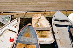 Docked rowboats Royalty Free Stock Images