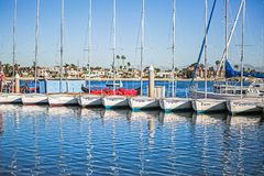 Docked sail boats with blue sky Stock Photography