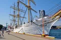 Docked sail ship Stock Photos