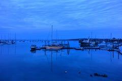 Docked Sailboats in a safe harbor Royalty Free Stock Photos