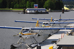 Docked seaplanes in Vancouver Stock Images