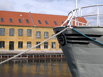 Docked Ship and Warehouse. Ship and Warehouse in Copenhagen Stock Photography