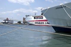 Docked ships in Piraeus harbor, Greece Royalty Free Stock Photo