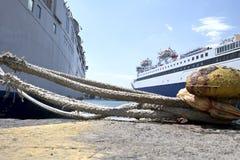 Docked ships in Piraeus harbor Stock Photography