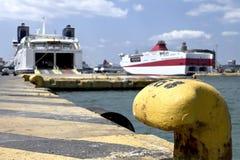 Docked ships in Piraeus harbor Royalty Free Stock Photography