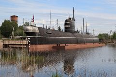 Docked submarine Stock Photo