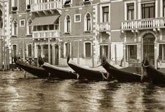 Docked venetian gondolas Royalty Free Stock Photography
