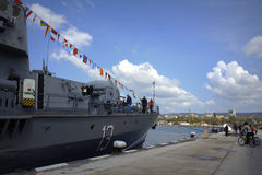 Docked warship,port Varna Bulgaria Royalty Free Stock Photos