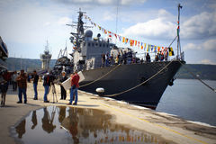 Docked warship,port Varna Bulgaria Stock Photos