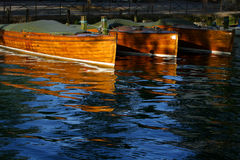 Docked wooden boats royalty free stock image