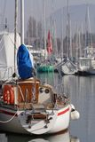 Docked yacht. In Evian harbour royalty free stock images