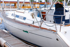 Docked yacht Royalty Free Stock Images