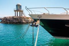 Docked yacht closeup at St Julians, Malta. EU Royalty Free Stock Images