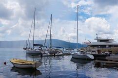Docked yachts. Bay of Kotor, Montenegro royalty free stock photo