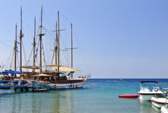 Docked yachts and boats in marina of Eilat, Israel Royalty Free Stock Photos