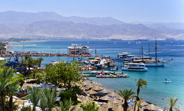 Docked yachts and boats in marina of Eilat, Israel Royalty Free Stock Image