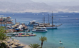 Docked yachts and boats in marina of Eilat, Israel Royalty Free Stock Photography