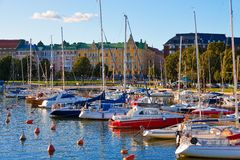 Docked yachts in the center of Helsinki, Finland. Scenic summer outdoor panorama of Helsinki stock images