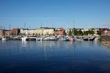 Docked yachts. In the center of Helsinki, Finland royalty free stock photo