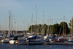 Docked yachts. In the center of Helsinki, Finland stock images