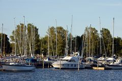 Docked yachts. In the center of Helsinki, Finland royalty free stock images