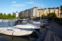 Docked yachts royalty free stock images
