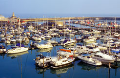 Docked yachts in harbor Royalty Free Stock Photos