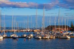Docked yachts in Helsinki. Beautiful panorama of docked yachts in Helsinki, Finland stock images