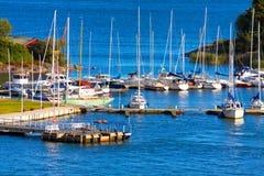 Docked yachts in Helsinki, Finland. Beautiful summer view of docked yachts in Helsinki, Finland royalty free stock photos