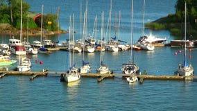 Docked yachts in Helsinki, Finland stock video