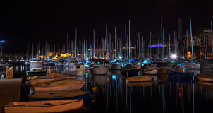 Docked yachts  in night Royalty Free Stock Photo