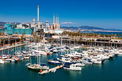 Docked yachts in Port Forum. Barcelona. BARCELONA, SPAIN - MARCH 15: Docked yachts lying in Port Forum in March 15, 2013 in Barcelona, Spain. Universal Forum of royalty free stock image