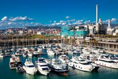 Docked yachts in Port Forum. Barcelona, Spain. BARCELONA, SPAIN - MARCH 9: Docked yachts in Port Forum in March 9, 2013 in Barcelona, Spain. Universal Forum of stock image