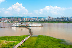 Docked in the Yangtze River cruise. Cruise ships docked in the Yangtze River Three Gorges, Chongqing, China Royalty Free Stock Images