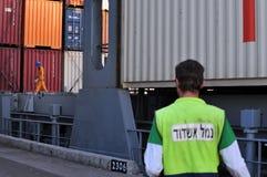 Docker - Port worker. ASHDOD - NOV 09:Docker / Port worker in Port of Ashdod on Nov 09 2009.It's one of Israel's two main cargo ports and one of the few deep Stock Photography